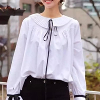 White Ruffle Peter Pan Collar Flare Sleeve Bow Shirt