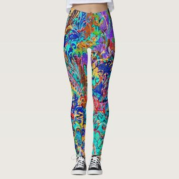 Cute colorful vintage floral leggings