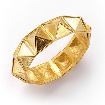 Kenneth Jay Lane Pyramid Bangle Bracelet Goldplated