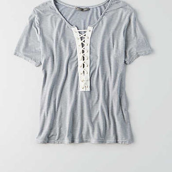 Don't Ask Why Lace-Up T-Shirt, Navy
