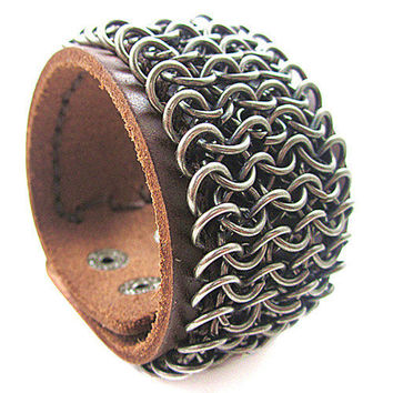 Real Brown Leather and Metal Snapper Buckle Men Leather Wristband Cuff Bracelet Unisex bracelet  SL0348