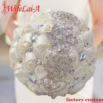 Artificial Wedding Bouquets Hand made Flower Rhinestone Bridesmaid Crystal Bridal Wedding Bouquet