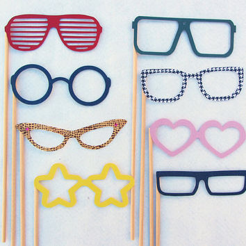 Glasses on a Stick Photobooth Party Prop by livelaughlovelots