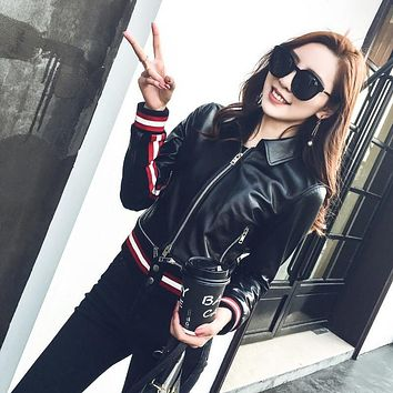Women Real Sheep leather Jacket Lower Edge Detachable Leather Coat Spring Fashion Outwear Black Lamb Sheep Genuine Leather Parka