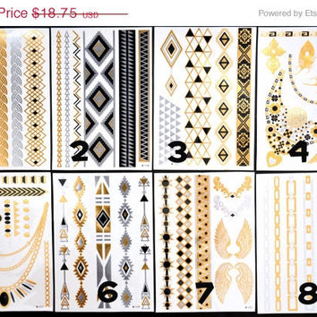 SALE!  Pick Any Two Bundle Pack! - Metallic Gold Silver Black and Blue Temporary Tattoo - Flash Tattoo - Jewelry - Body Ink Art - Stylish