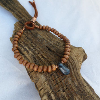 Boho Bracelet, Wood and Agate Beaded Bracelet, Yoga Bracelet, Women's Bracelet, Men's Bracelet, ColeTaylorDesigns