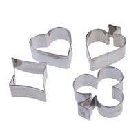 Baking Tools 4PCS/Set Stainless Steel Poker Fondant Biscuit Pastry Cookie Cutter Mold Tool Set 4.5x5x1.5cm