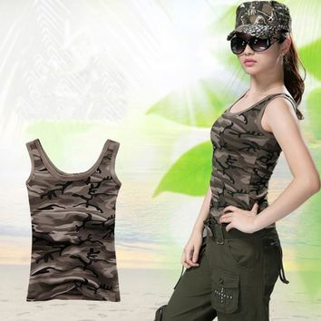 Camouflage Sleeveless Tank Tops