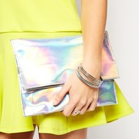 ASOS Mini Hologram Foldover Clutch Bag at asos.com