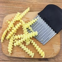 Potato Wavy Edged Knife Stainless Steel Kitchen Gadget Vegetable Fruit Cutting Peeler Cooking Tools kitchen knives Accessories