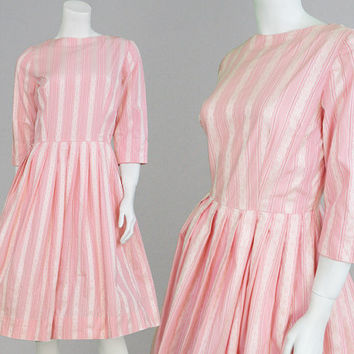 Vintage 60s 50s Full Skirt Dress Baby Pink Day Dress 50s Cotton Dress Candy Stripe 1950s Dress 1960s Dress Pastel Pink White Embroidery Trim