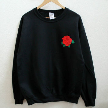 Rose Graphic Print Unisex Sweatshirt
