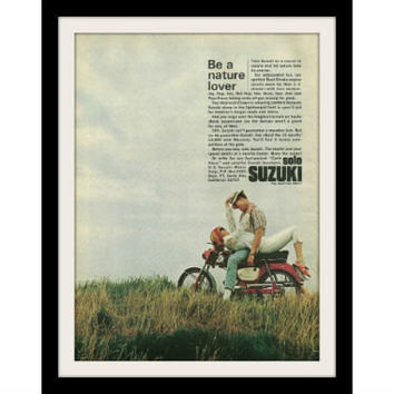 "1966 Suzuki Solo Motorcycle Ad ""Nature Lover"" Vintage Advertisement Print"