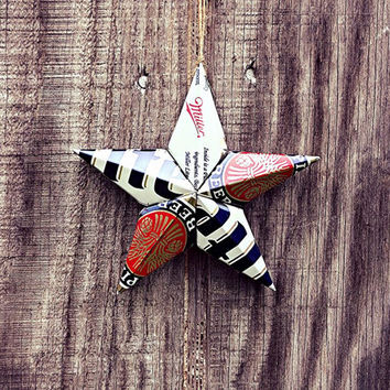 Upcycled Retro Throwback Miller Lite Beer Can Star Ornament