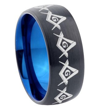 8mm Masonic Square and Compass Dome Tungsten Carbide Blue Wedding Band Mens