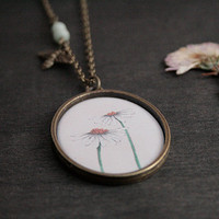 Oval Antique Brass Necklace - Thicker Border - Epoxy Glass - Daisies