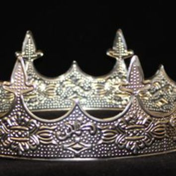 2.5in Tall Silver Metal Medieval King/ Queen Crown