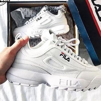 FILA Women Fashion Casual Running Sport Casual Shoes Sneakers White G