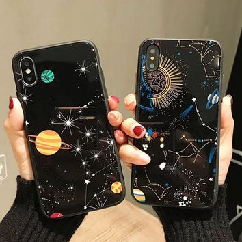 Luxury mirror Cute Cartoon Planet Moon Star Phone Case