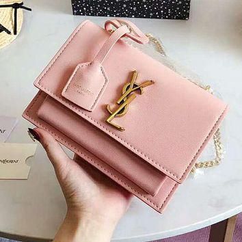 YSL High Quality Fashion Women Leather Metal Chain Shoulder Bag Crossbody Satchel Pure Pink
