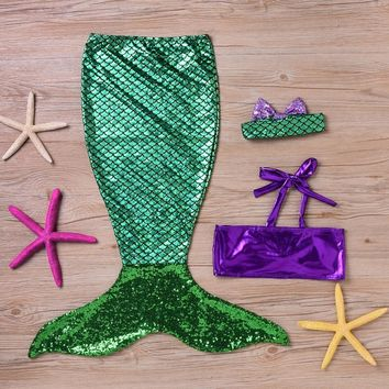 Puseky Kids Girls Clothes Summer Dress Children Baby Girls The Little Mermaid Tail Bikini Suit Swim Costume 6M-7Y