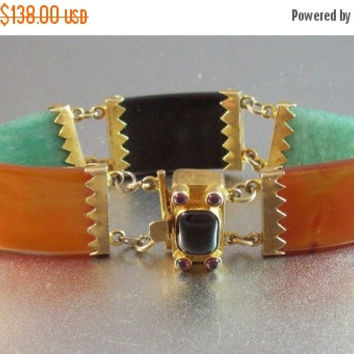 20% Off Vintage Chinese Export Jade Panel Bracelet, Rolled Gold Multi Color, Amethyst Cabochon Clasp