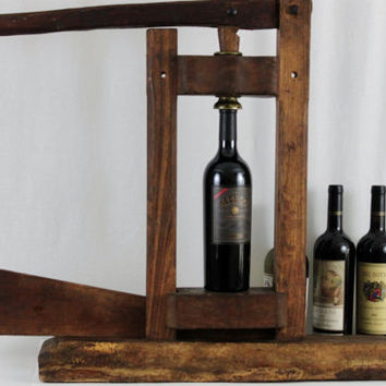Antique 1800s Wooden Winery Bottle Corker, Cork Inserter