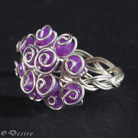 Sterling Silver argentium amethyst ring - February Birthstone Jewelry - Sterling Silver gemstone ring - chic sister mother grandma gift