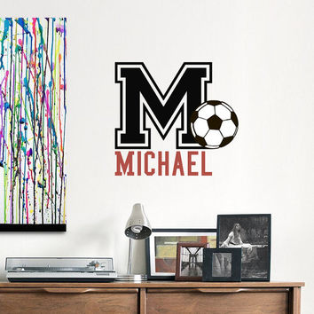 Soccer Football Wall Decal Boys Personalized Initial Name Decals Sports Nursery Decor- Football Nursery Kids Teens College Dorm Decor 0072