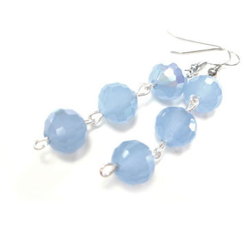 Periwinkle Earrings Faceted Glass Beads Pastel Blue Jewelry