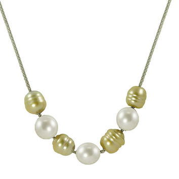 Imperial Pearl: 10-11mm Baroque Golden South Sea Pearl & White Freshwater Pearl Necklace