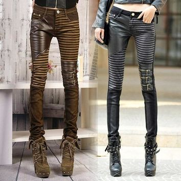 PU leather Jeans Pants Motorcycle Punk Skinny Trousers Slim Fit Casual Long