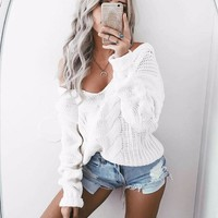 Womens Casual Long Sleeve Jumper Sweater Blouse