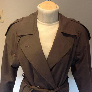 Woman's Gabardine Trench Coat with Epaulettes – Maxi Length - Size 7/8