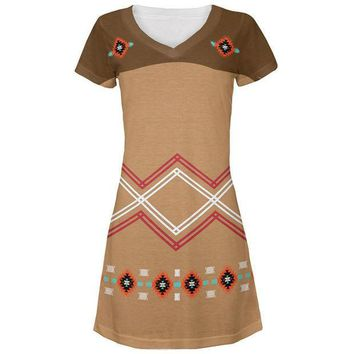 CREYON Halloween Native American Pattern All Over Juniors V-Neck Dress