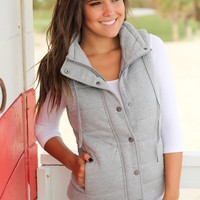 Heather Gray Quilted Vest