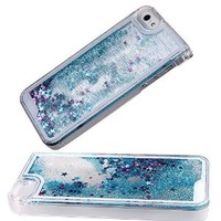iPhone SE Case,iPhone 5S Case,iPhone SE Liquid Case,Hard Case for iPhone 5S/iPhone SE,NSSTAR Creative Design Flowing Liquid Bling Glitter Hard Case for Apple iPhone SE 2016 & iPhone 5S 5 (Blue)