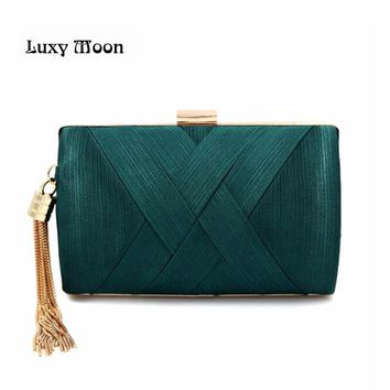 New 2017 Metal Tassel women Clutch Bag Chain evening bags Shoulder Handbags Classical Style Small Purse Day Evening Clutch Bags