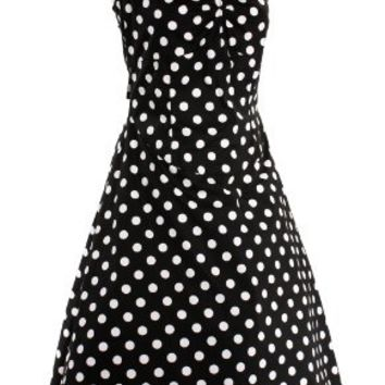 Retro Rockabilly Black & White Polka Dot Halter Dress - Hey Viv !