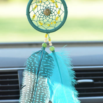 Turquoise Dream catcher, Rear View Mirror Car Dream Catcher, Car Charm, Gift Idea for Men Women, JASPER stone,  Pheasant Feathers
