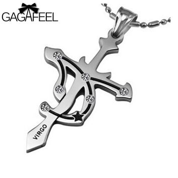Fashion Men Women Titanium Stainless Steel Silver Color Cross Pendant Necklace Crystal Fine Jewelry Zodiac Virgo Friendship Gift