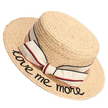 2017 Summer Sun Hats For Women Flat Top Straw Hat Natural Raffia Bow-Knot Beach Caps Chapeu Feminino