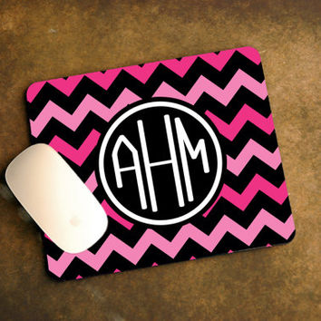 Hot Pink and Black Chevron with Initial Monogram Mouse Pad + Geek Gift