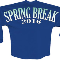 Spring break 2016 blue pom print J america shirt