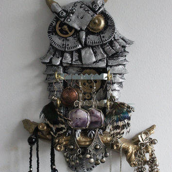 Steampunk Owl Jewellery, Storage & Organization. Wall Decor, Sculpture