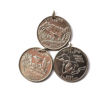U.S. State Quarter Dollar Coin Necklace, Arkansas, Colorado, Michigan Pendant Jewelry by Hendywood
