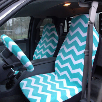 1 Set of Turquoise and White Chevron Print Seat Covers and 1 piece of Steering Wheel Cover Custom Made.