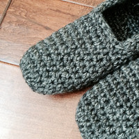 Crochet Knit Slippers Booties House Shoes that are Most Comfortable and Handmade of Premium Quality Wool Blend in Grey