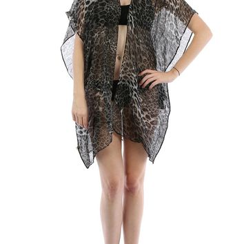 Black Leopard Print Sheer Cover Up Poncho