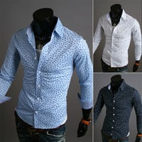 Slim Fit Dot Design Men's Fashion Dress Shirt